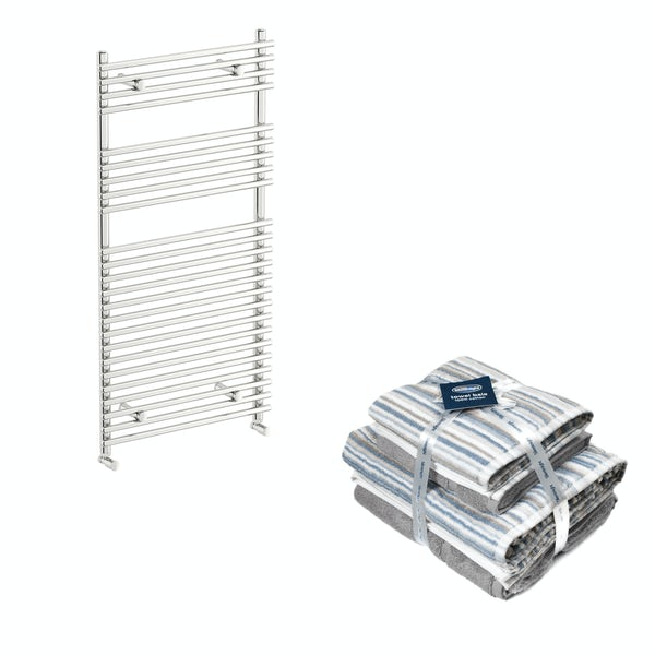 Orchard Derwent chrome heated towel rail 1150x600 with Silentnight Zero twist grey 4 piece towel bale