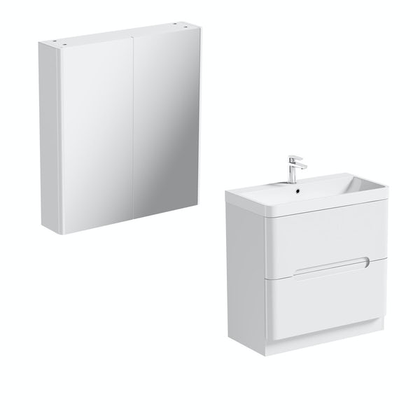 Mode Ellis white vanity drawer unit 800mm and mirror cabinet offer