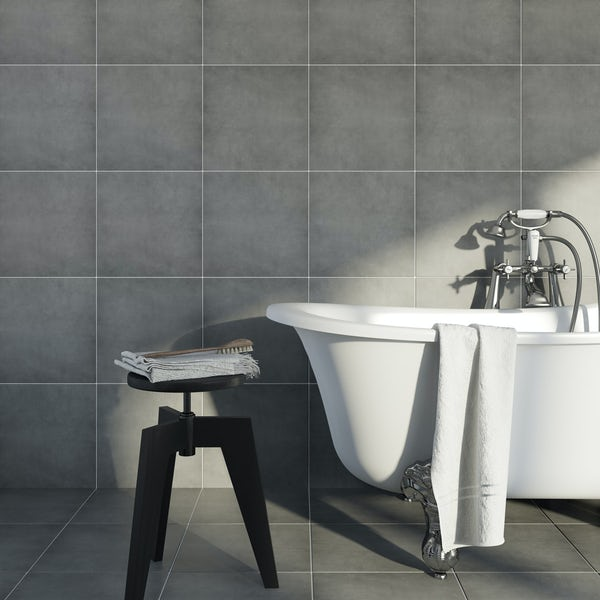 British Ceramic Tile Victoriana plain grey matt floor tile 331mm x 331mm