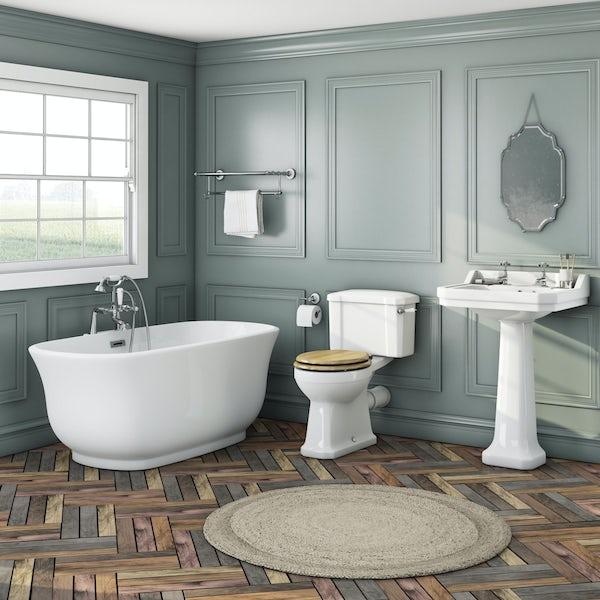 Elegant Elsie bath + Camberley basin 2th + Camberley close coupled oak
