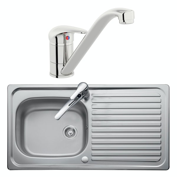 Leisure Linear reversible stainless steel 1.0 bowl kitchen sink and Schon single lever tap