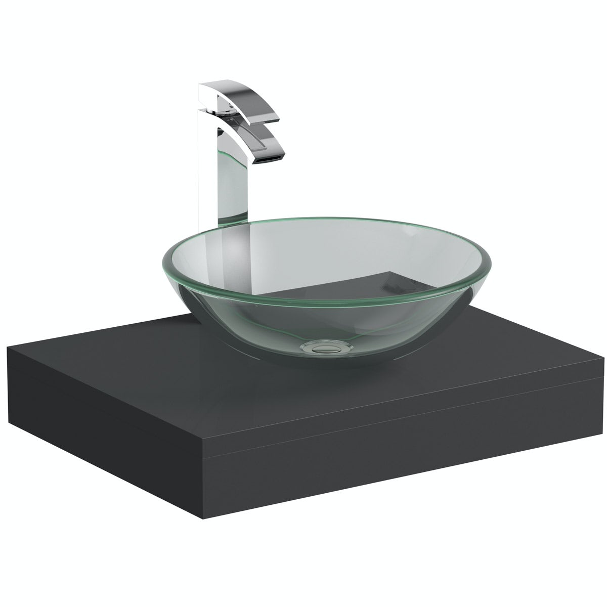 Mode Orion Grey Countertop Shelf With Mackintosh Basin