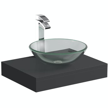 Mode Orion slate gloss grey countertop shelf 600mm with Mackintosh glass countertop basin, tap and waste