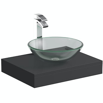 Mode Orion slate grey countertop shelf 600mm with Mackintosh glass countertop basin, tap and waste