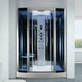 Insignia rectangular bow fronted steam shower cabin 1500 x 900