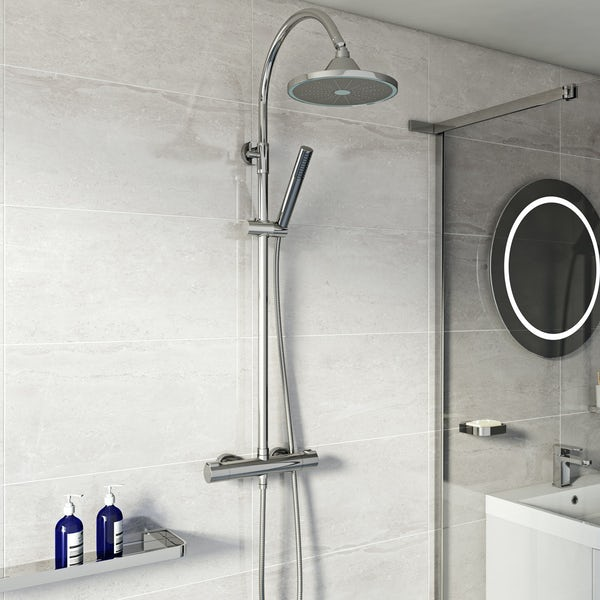 Mode Cool Touch round thermostatic exposed mixer shower with LED shower head
