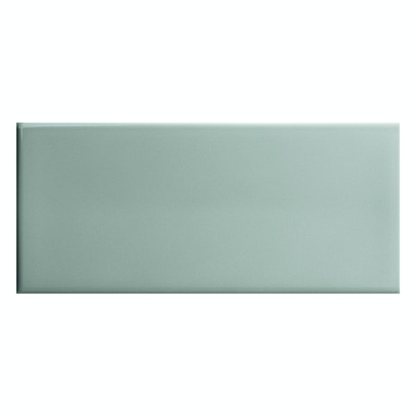 Bordeaux aqua green flat gloss wall tile 200mm x 457mm