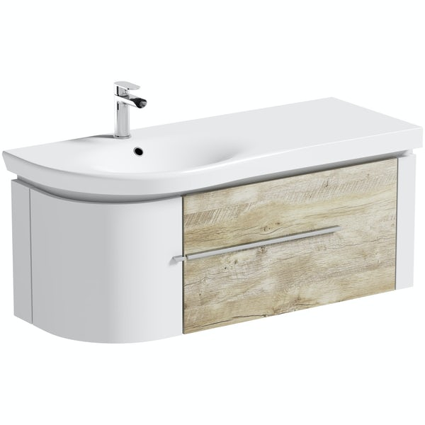 Mode Burton white & rustic oak wall hung vanity unit and basin 1200mm