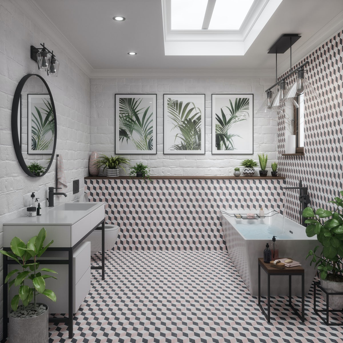 Modern Ideas And Latest Trends Adding Luxury To Kitchen: British Ceramic Tile Illusion Feature Matt Wall And Floor
