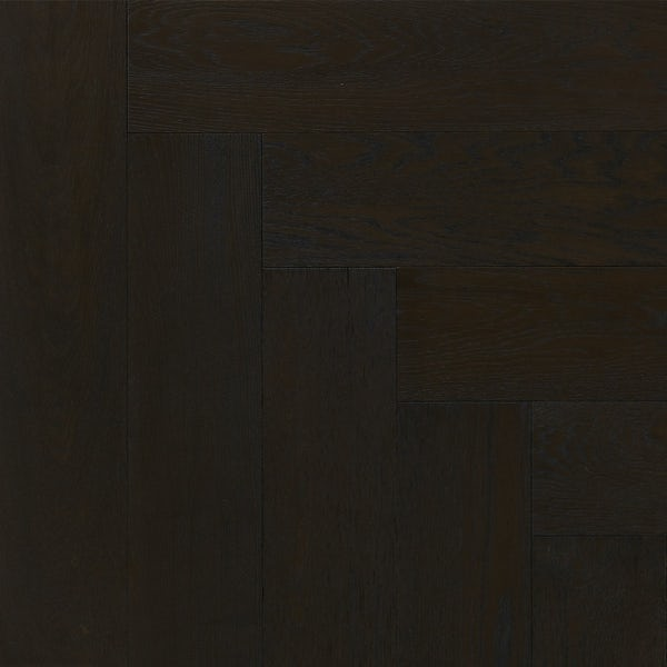 Tuscan Modelli Herringbone black stained multiply brushed engineered wood flooring