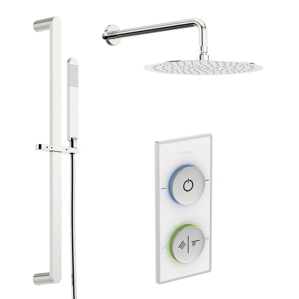 SmarTap white smart shower system with round slider rail and wall shower set