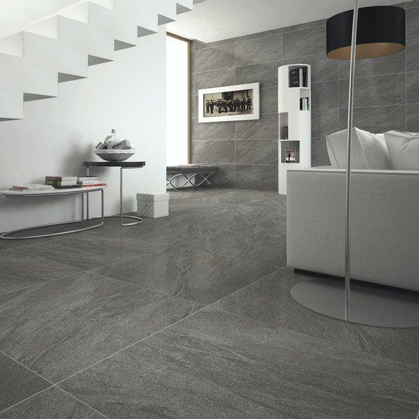 Alicura grey stone effect anti-slip matt wall and floor tile 600mm x 600mm