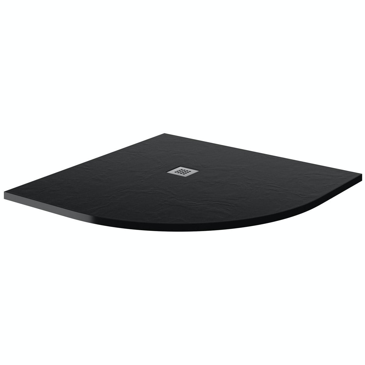 Mode black slate effect quadrant stone shower tray 900 x 900