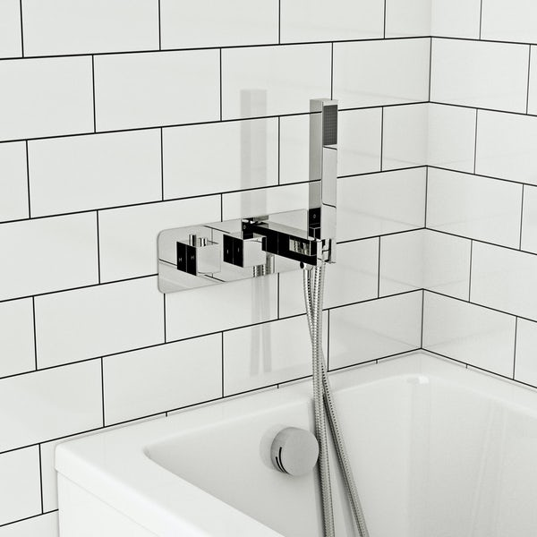 Mode Ellis square twin thermostatic shower valve with diverter and handset