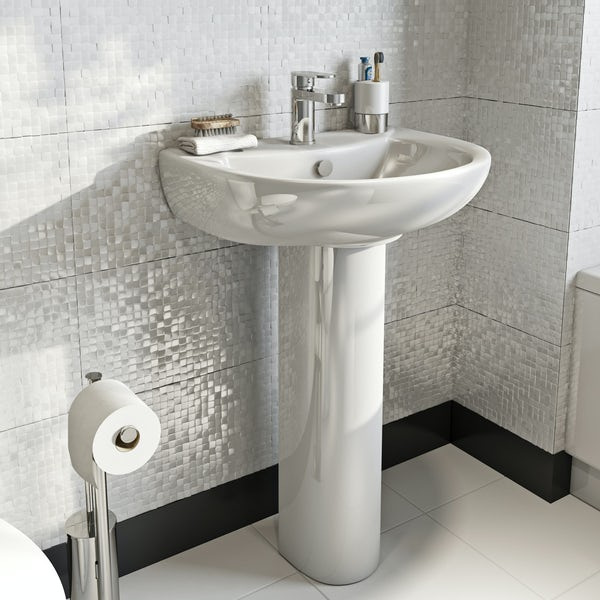 Orchard modern 1 tap hole full pedestal basin 550mm