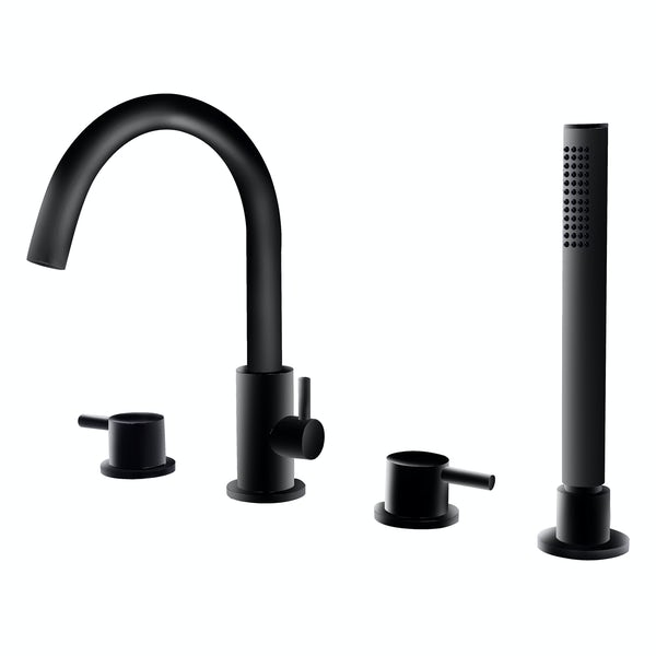 Mode Spencer black deck mounted 4TH bath shower mixer tap
