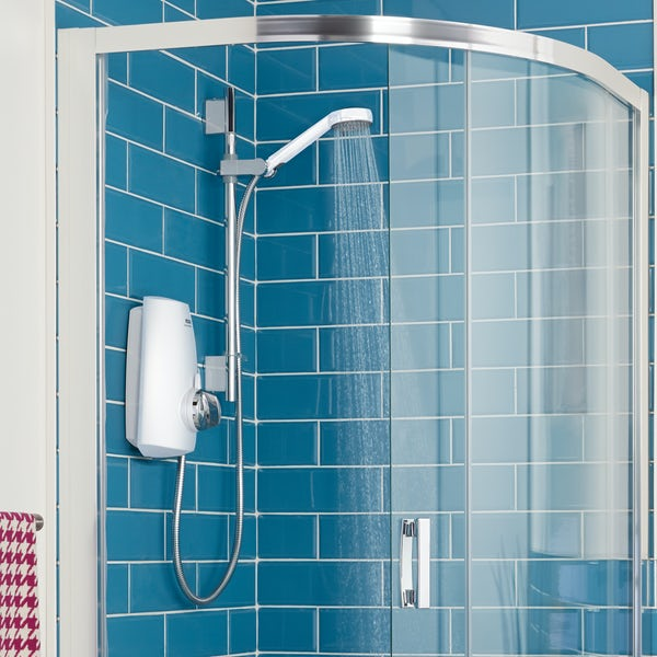 Aqualisa Aquastream thermostatic power shower white and chrome