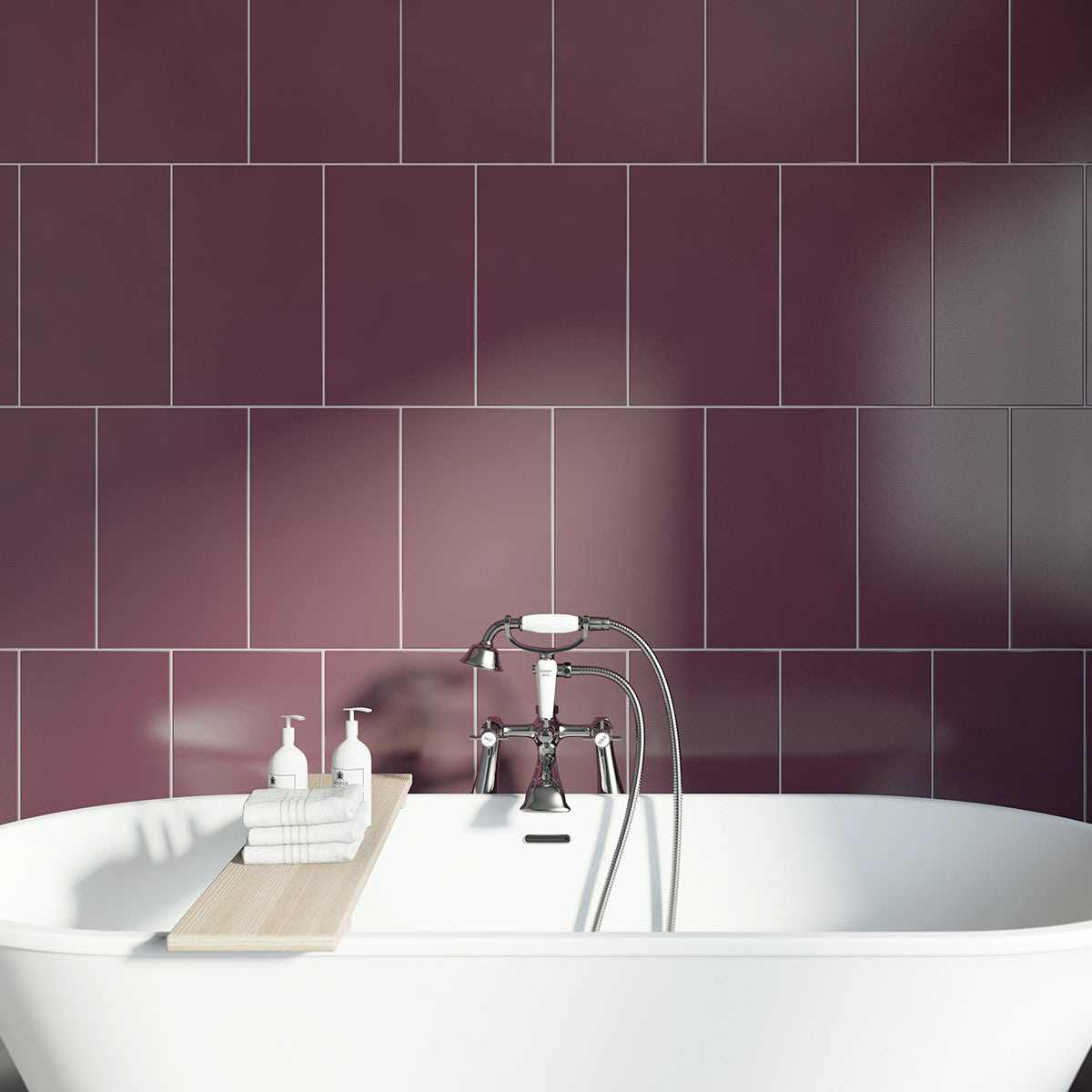 Studio Conran Plain Plum Field Tile 248mm X 398mm
