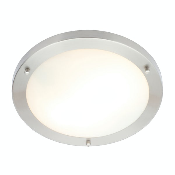 Forum Draco brushed nickel round 2 light flush bathroom ceiling light