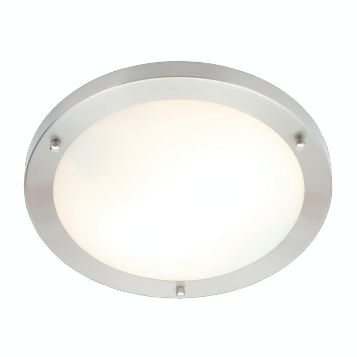 Forum Draco Brushed Nickel Round 2 Light Flush Bathroom Ceiling Light Victoriaplum Com