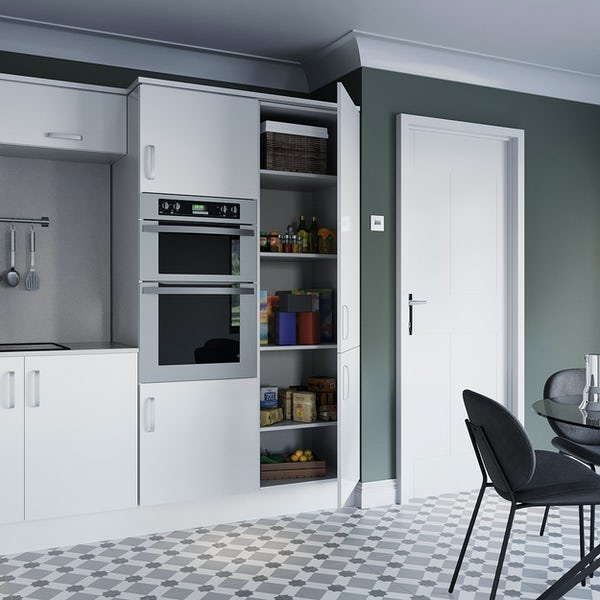 Schon Boston white slab 600mm larder unit