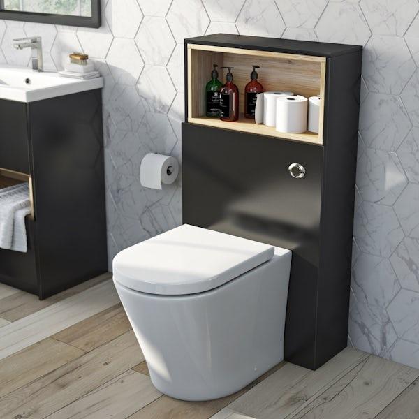 Mode Tate anthracite black & oak back to wall toilet unit