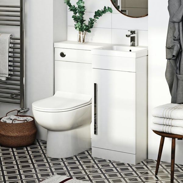 Orchard MySpace white right handed unit with Eden contemporary back to wall toilet