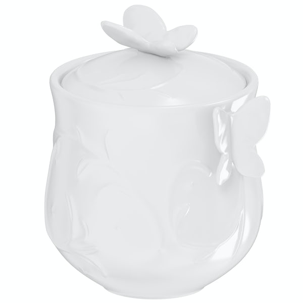 Edelle porcelain white butterfly storage jar