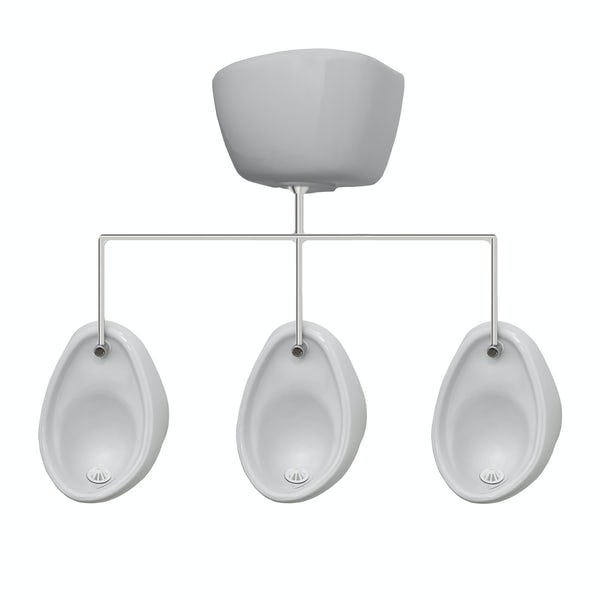 Kirke Curve complete top in exposed urinal 500mm pack for 3 bowls