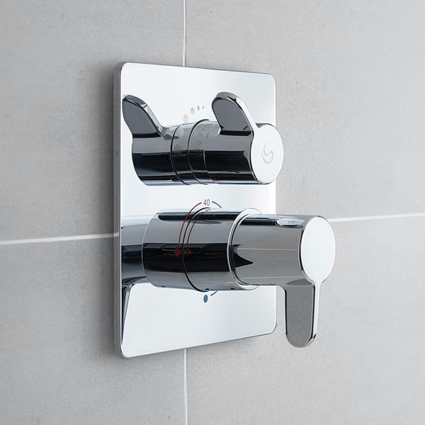 Ideal Standard Concept Freedom square concealed thermostatic mixer shower with ceiling arm