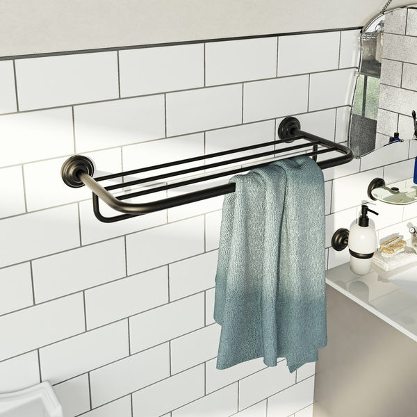 The Bath Co. 1805 black towel shelf