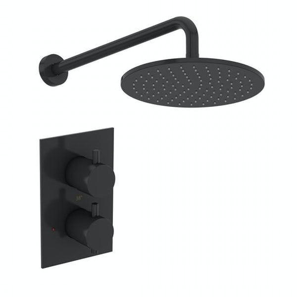Mode Orion complete bathroom suite with contemporary charcoal grey wall hung toilet and straight shower bath
