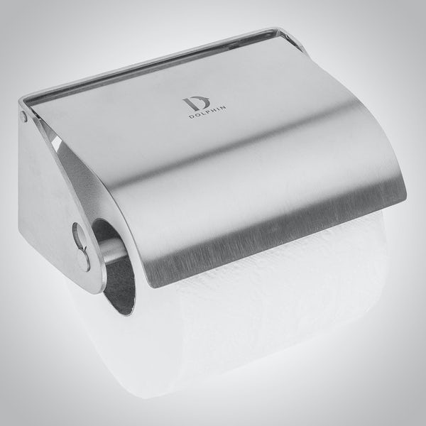 Dolphin commercial satin stainless steel single toilet roll holder