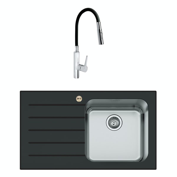 Bristan Gallery glacier left handed black glass easyfit 1.0 bowl kitchen sink with Flex tap