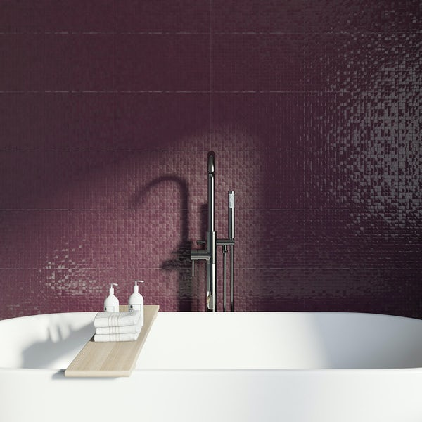 Studio Conran hartland plum pressed mosaic tile 248mm x 398mm