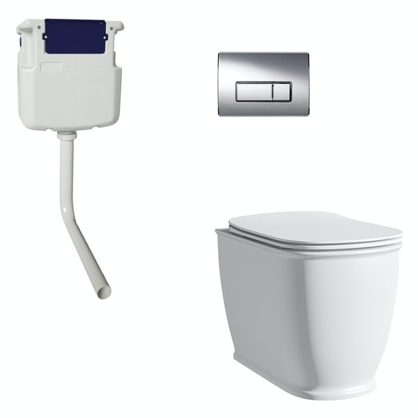 The Bath Co. Beaumont back to wall toilet with soft close seat, concealed cistern and push plate