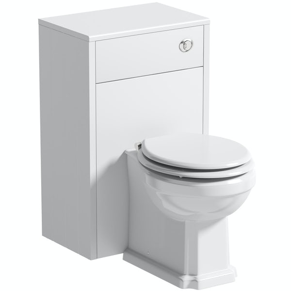 The Bath Co. Dulwich matt white back to wall unit and traditional toilet with white wooden seat
