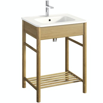 Mode South Bank natural wood washstand with basin 600mm
