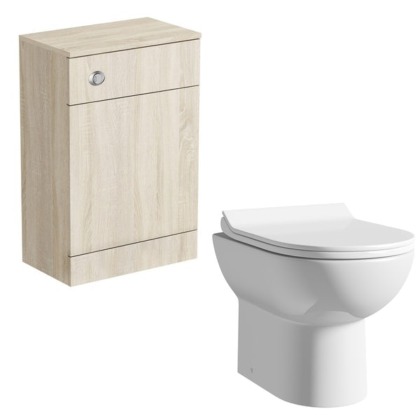 Orchard Wye oak back to wall unit with Eden contemporary toilet and seat